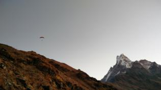 Someone paraglided down from the base camp! Emma and I are like, we need to do this next time! Envious!