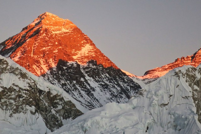 Alpenglow is a good color on Everest!