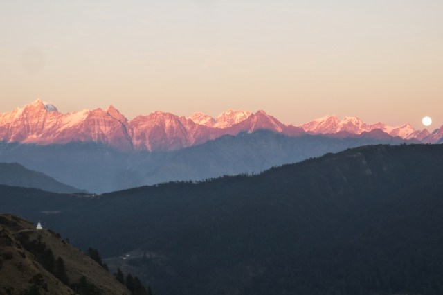 The full moon rising over the Himalaya, lit up by alpenglow. One of the most beautiful sights I've ever seen.