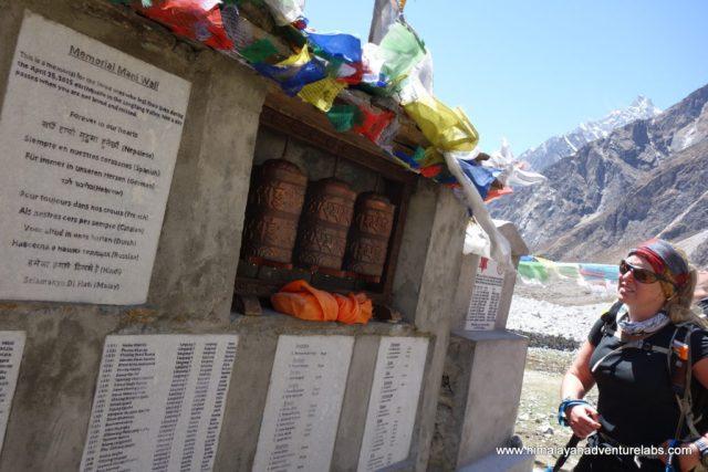 Taking a moment at the Langtang Memorial