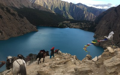View of Shey Phoksundo Lake from a trail to Upper Dolpa