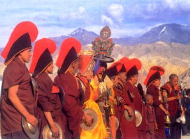 Buddhist monks in celebratory attire