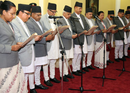 Appointed 11 Supreme Court Justices take oath of office and secrecy amid a function administered by Chief Justice Sushila Karki in the presence of the President Bidya Bhandari at the Sheetal Niwas on Monday, August 1, 2016. Photo: RSS