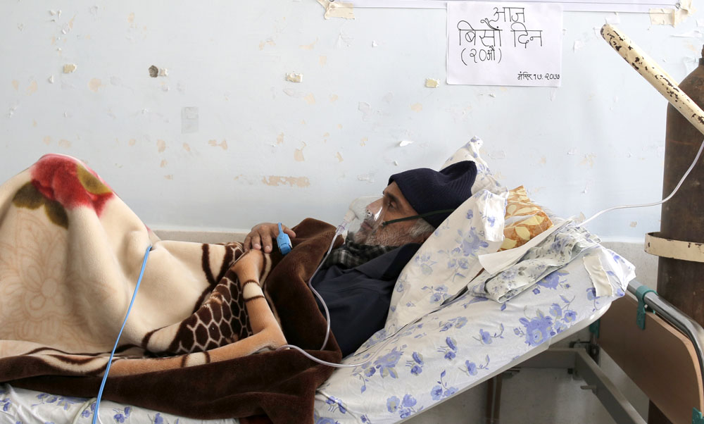 Dr. Govinda KC on the 20th day of his hunger strike at at Teaching Hospital, Kathmandu on Friday, December 02, 2016. Photo: Dinesh Gole/Nagarik/Republica