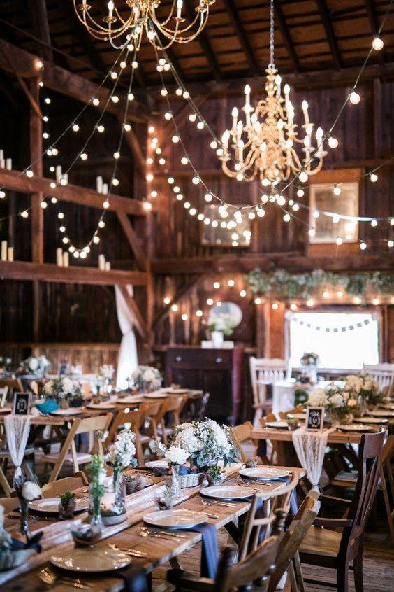 elegant rustic barn wedding reception ideas