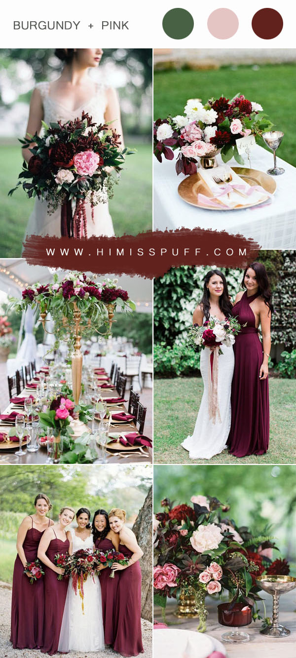 burgundy and pink garden wedding colors ideas for all brideas