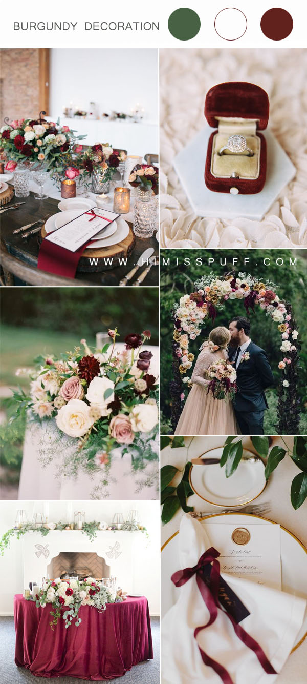burgundy and white wedding decoration ideas