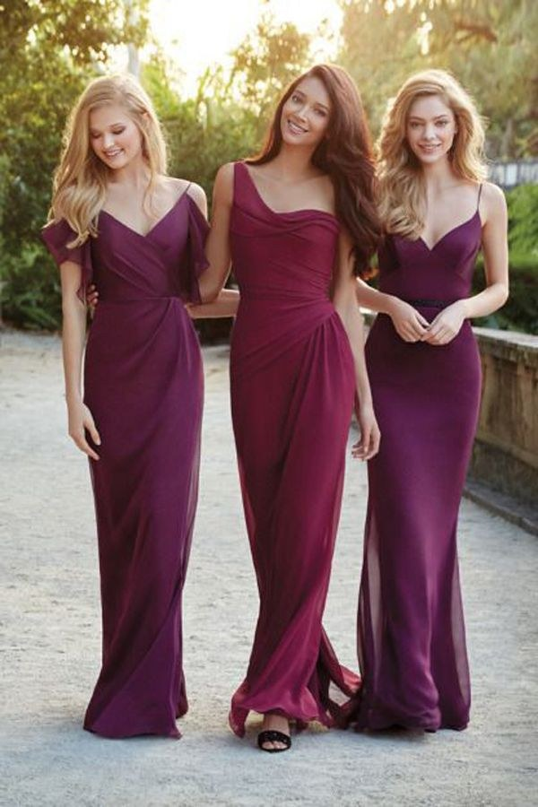 mix and mactched burgundy and purple bridesmaid dresses