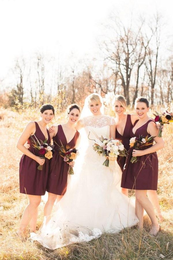 short J.Crew burgundy bridesmaid dresses