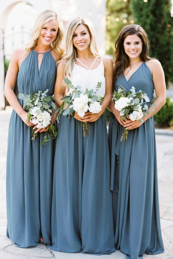 bohemian dusty blue bridesmaid dresses