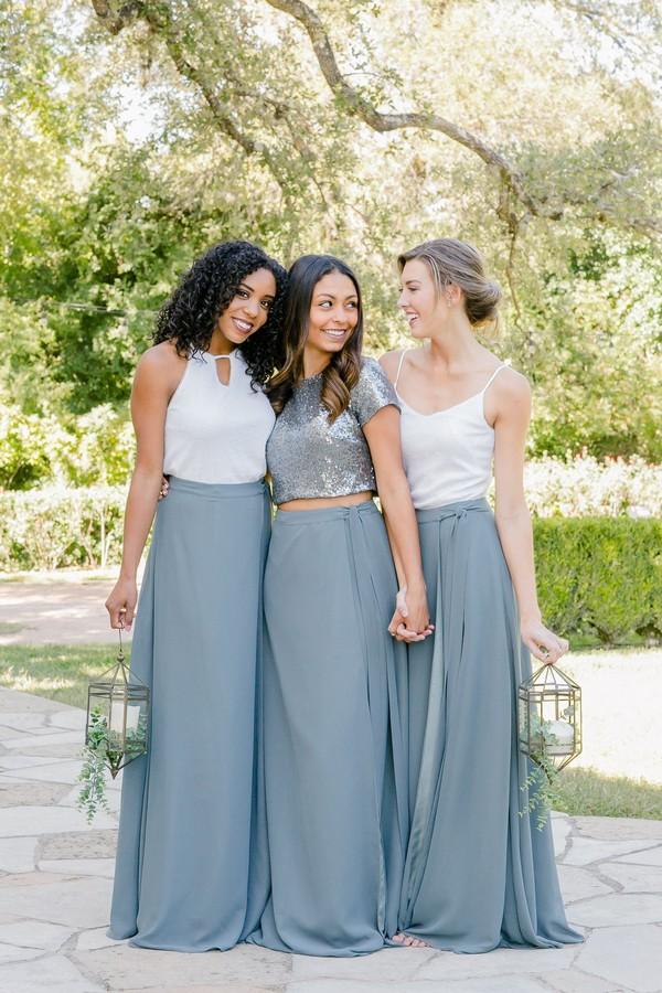 boho dusty blue bridesmaid dresses