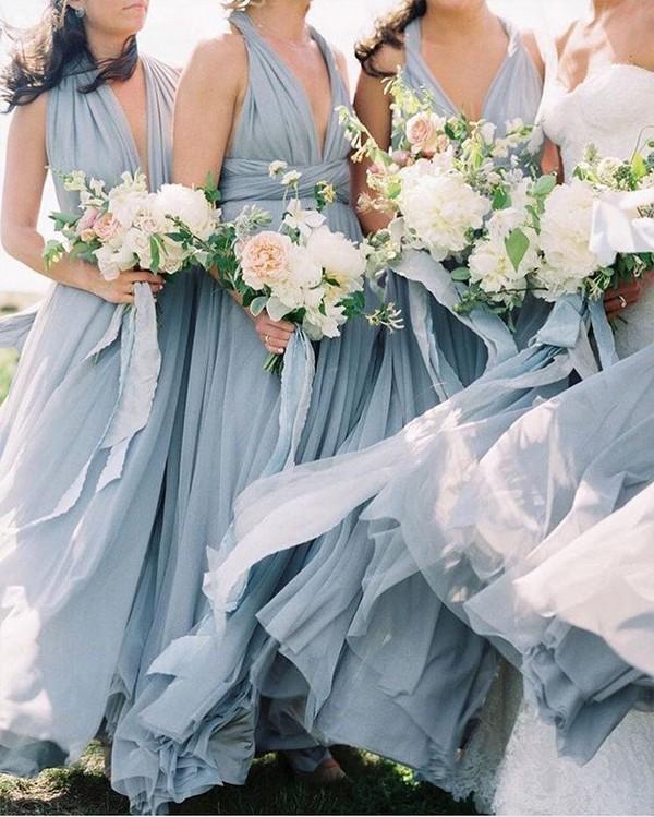 boho dusty blue slate blue bridesmaid dresses
