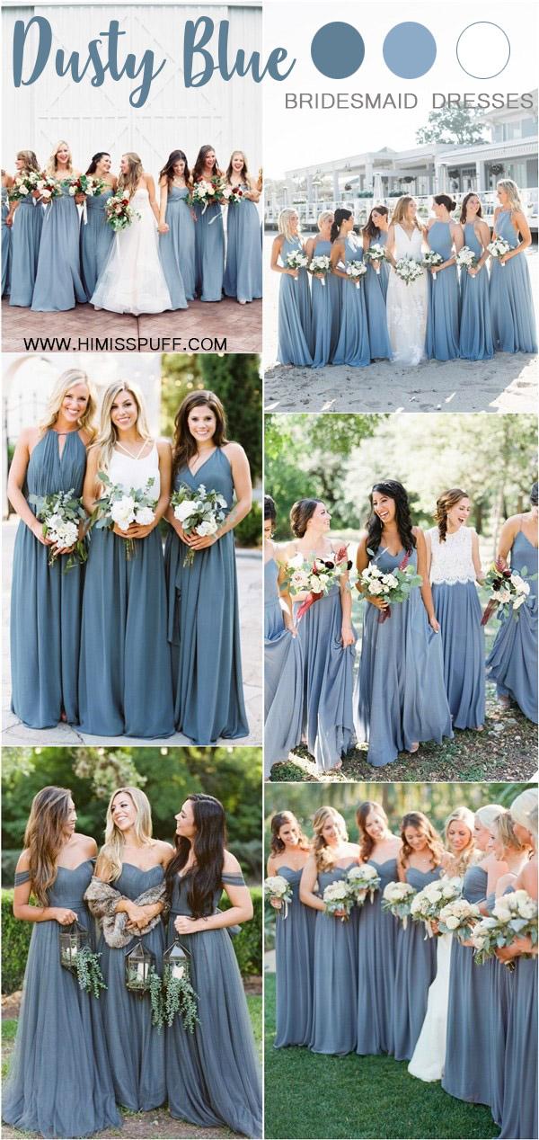 dusty blue wedding color ideas - dusty blue bridesmaid dresses
