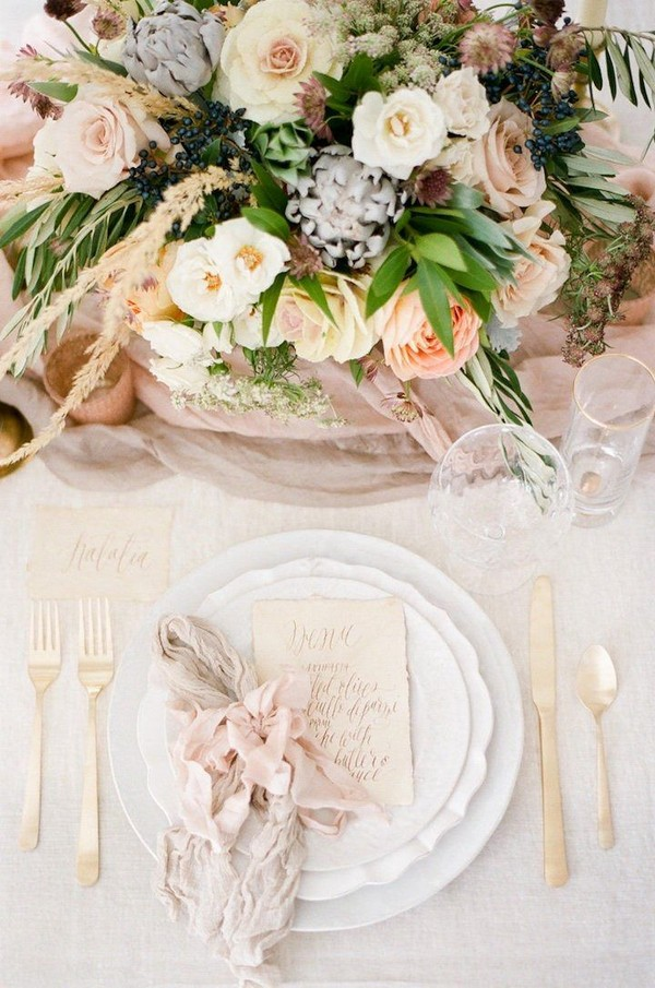 neutral pink wedding reception decor idea