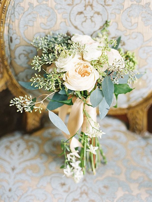 seeded eucalyptus and peach roses wedding bouquet