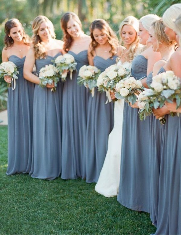 strapless sweetheart dusty blue bridesmaid dresses