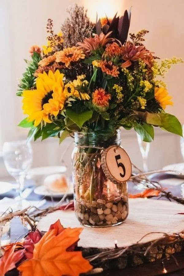 sunflowers fall wedding centerpiece
