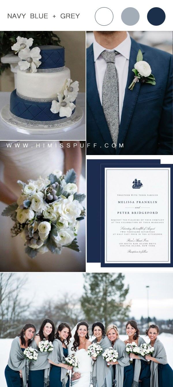 blue and gray winter wedding color ideas