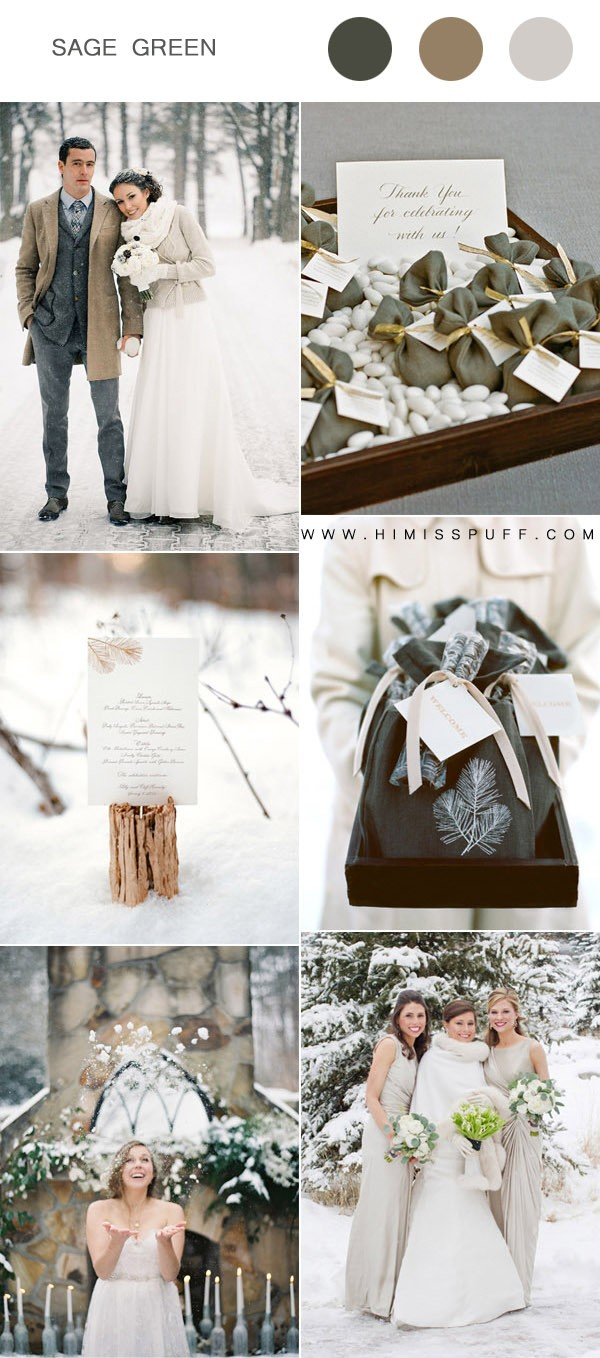 beautiful sage green winter wedding color ideas
