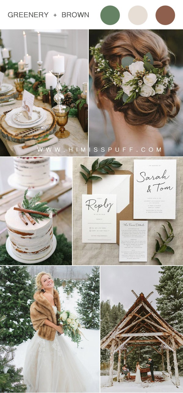 brown and greenery woodland wedding ideas