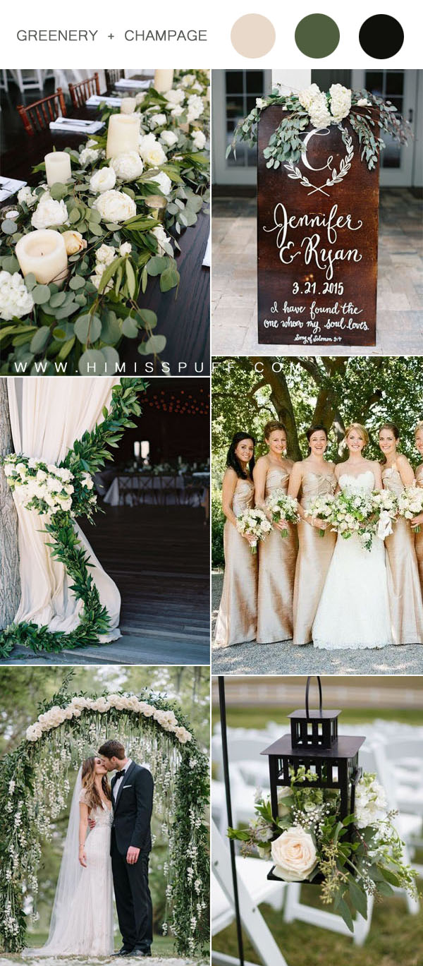 elegant and romantic champagne and greenery wedding color inspiration