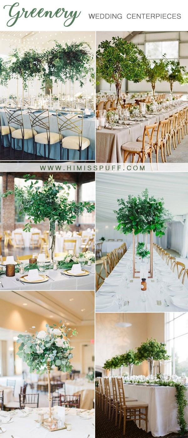 greenery tall wedding centerpieces ideas