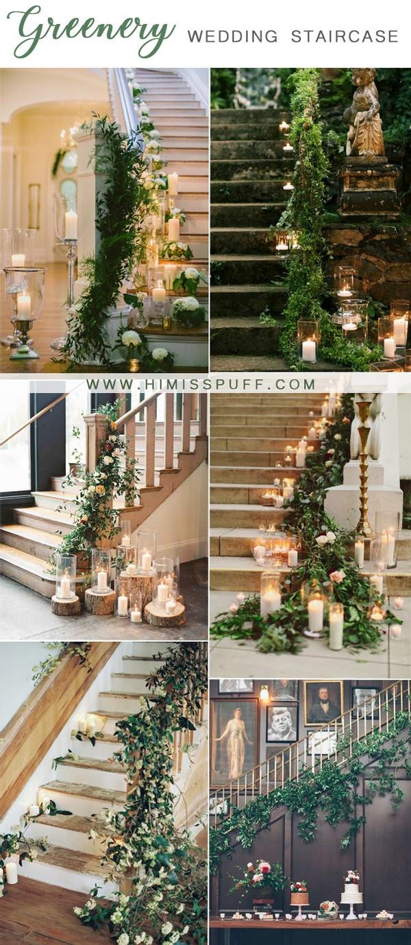 greenery wedding staircase decoration ideas