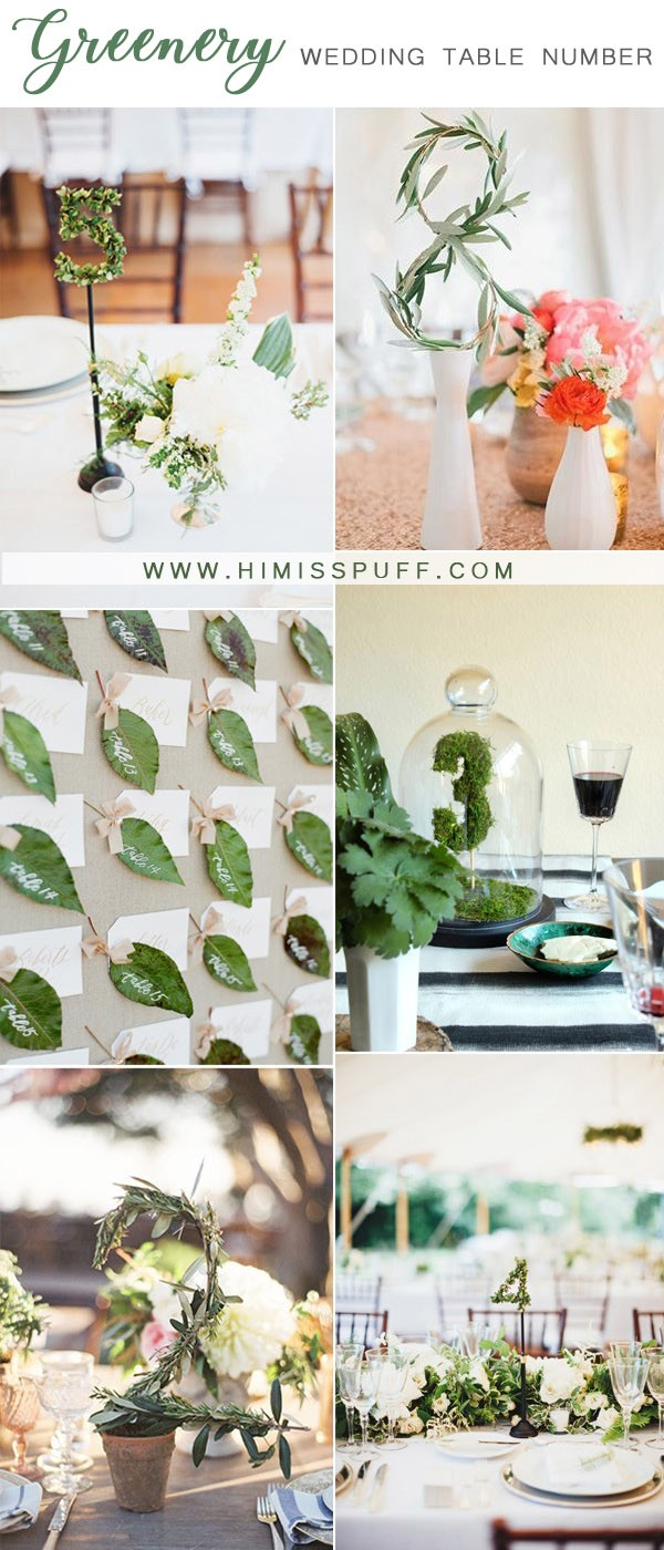 greenery wedding table number ideas for reception