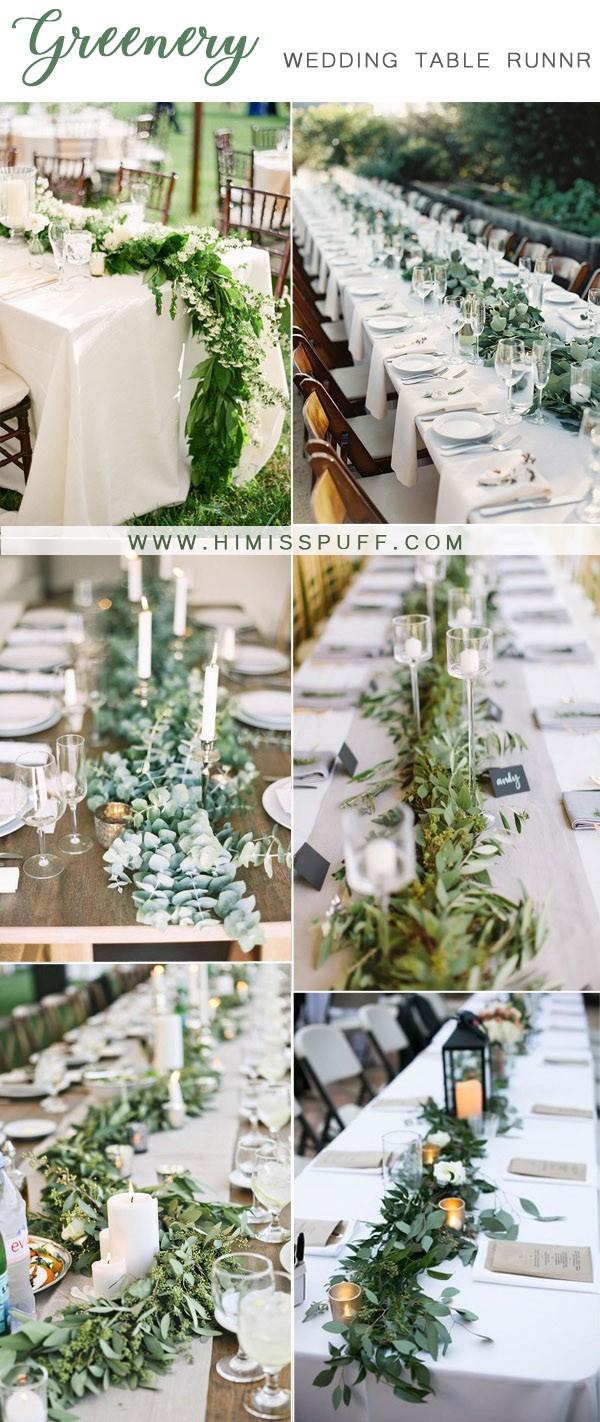 greenery wedding table runner decor ideas