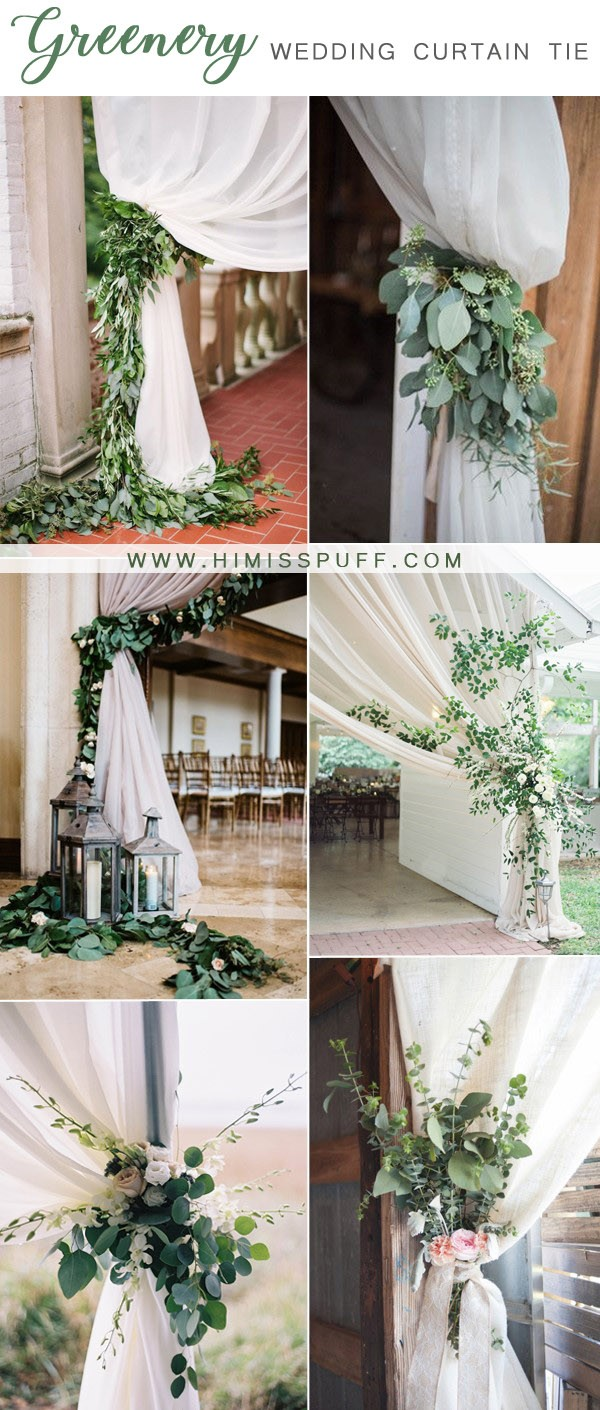 pretty greenery wedding curtain ties ideas
