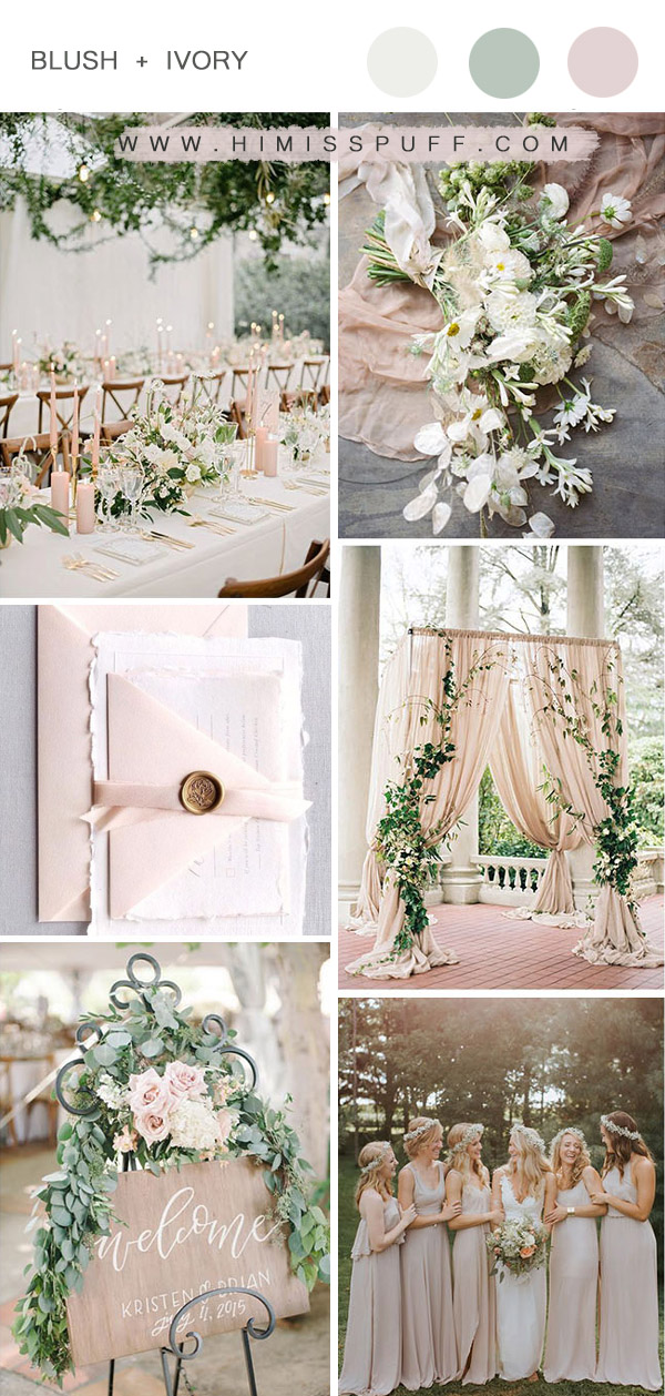 romantic blush and ivory garden wedding color palettes