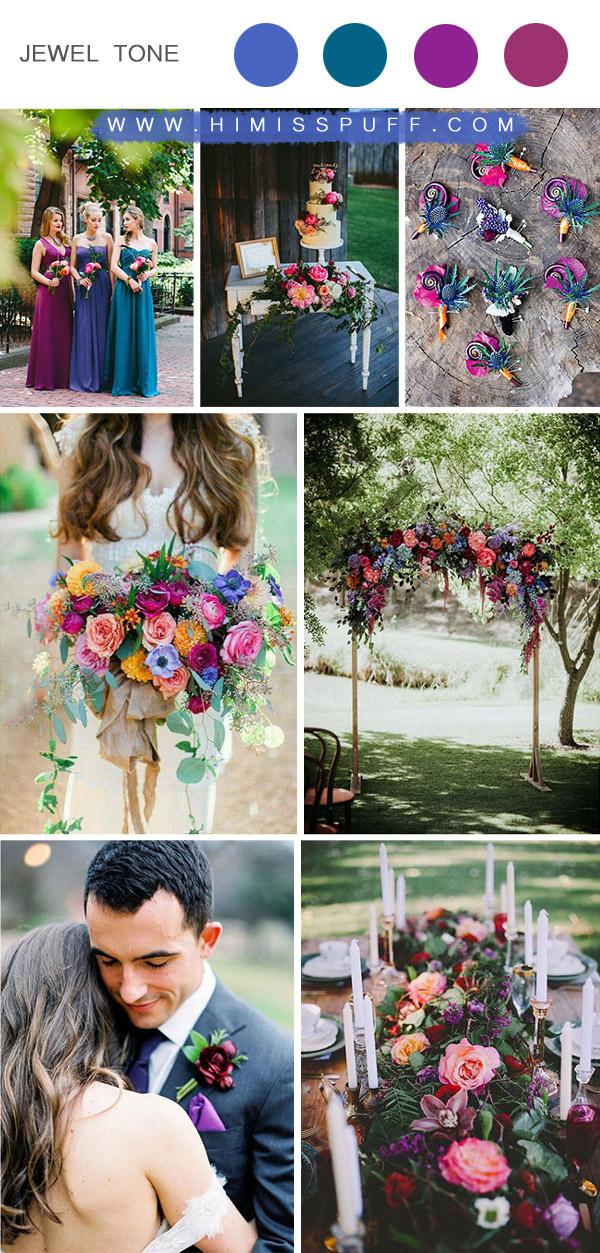 vibrant jewel tone summer wedding color ideas