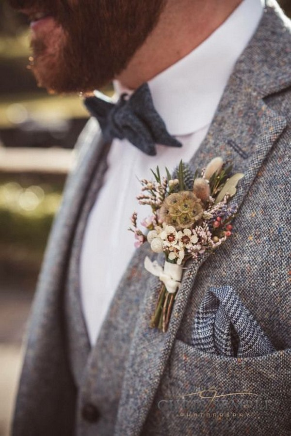 Posy Barn rustic groom buttonhole
