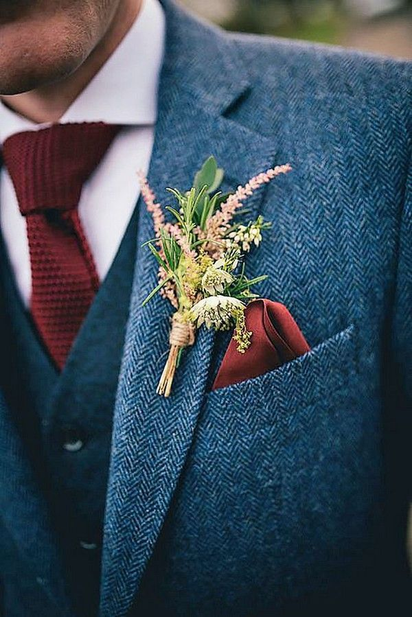 navy and burgundy groom wedding suit for fall and winter