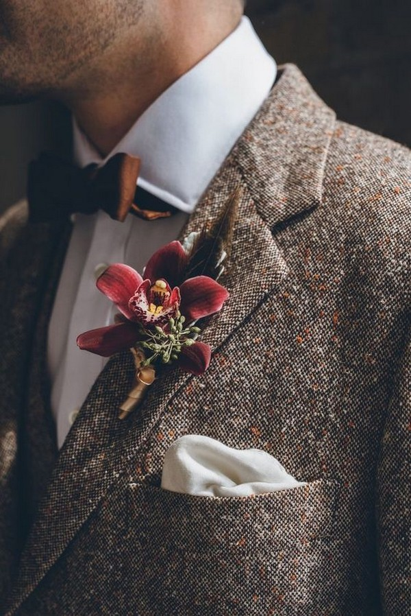 vintage fall and winter groom wedding suit