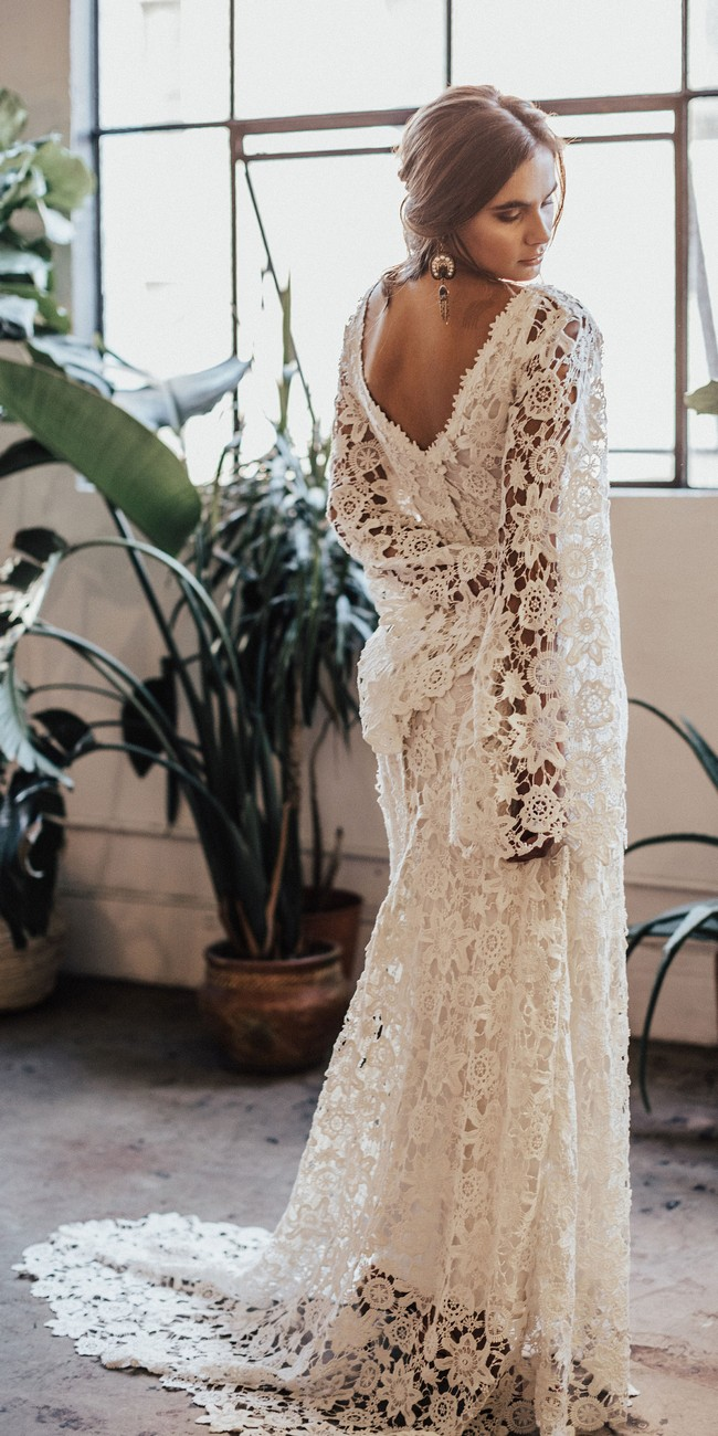 Bell Sleeve Lace Bohemian Wedding Dress with Train2