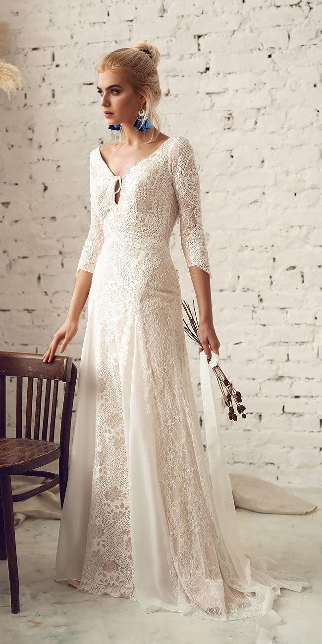 bohemian open back wedding dress with sleeves