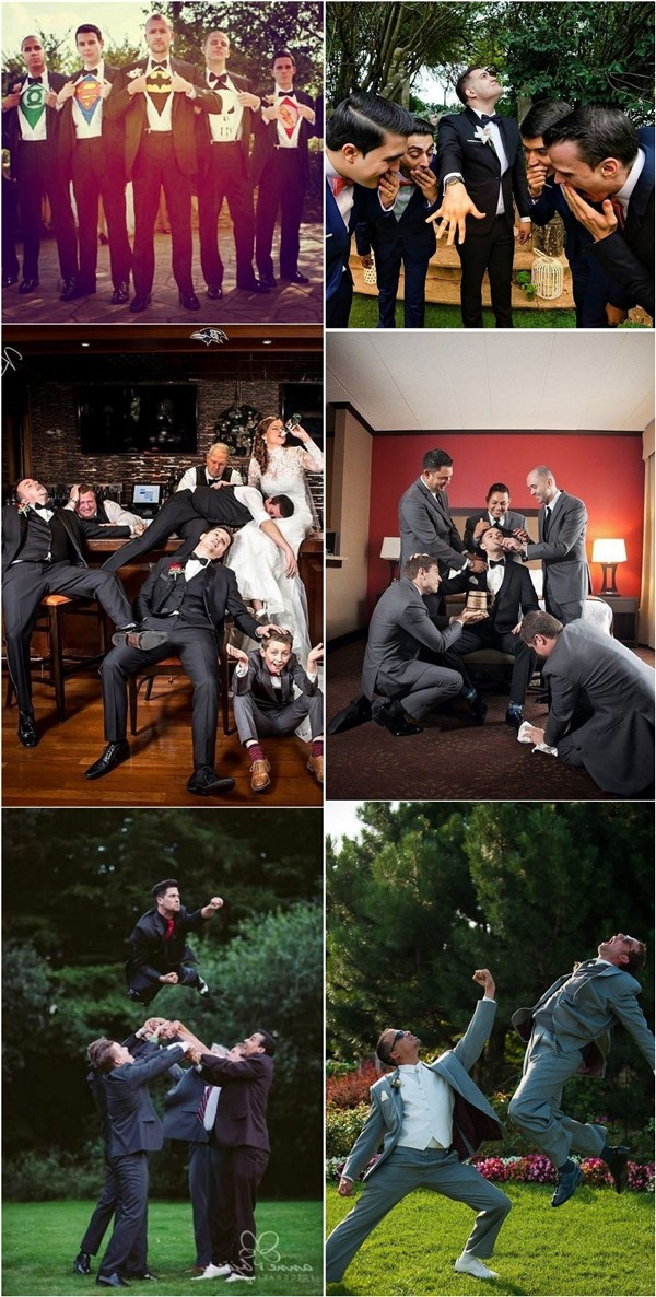 fun groomsmen wedding photo pose ideas