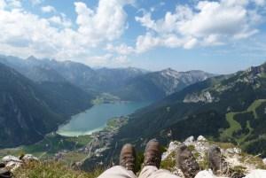 Blick vom Ebner Joch auf Achensee und Karwendel
