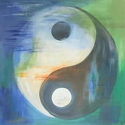 et billede af ying og yang som bliver brugt til akupunktur siden.