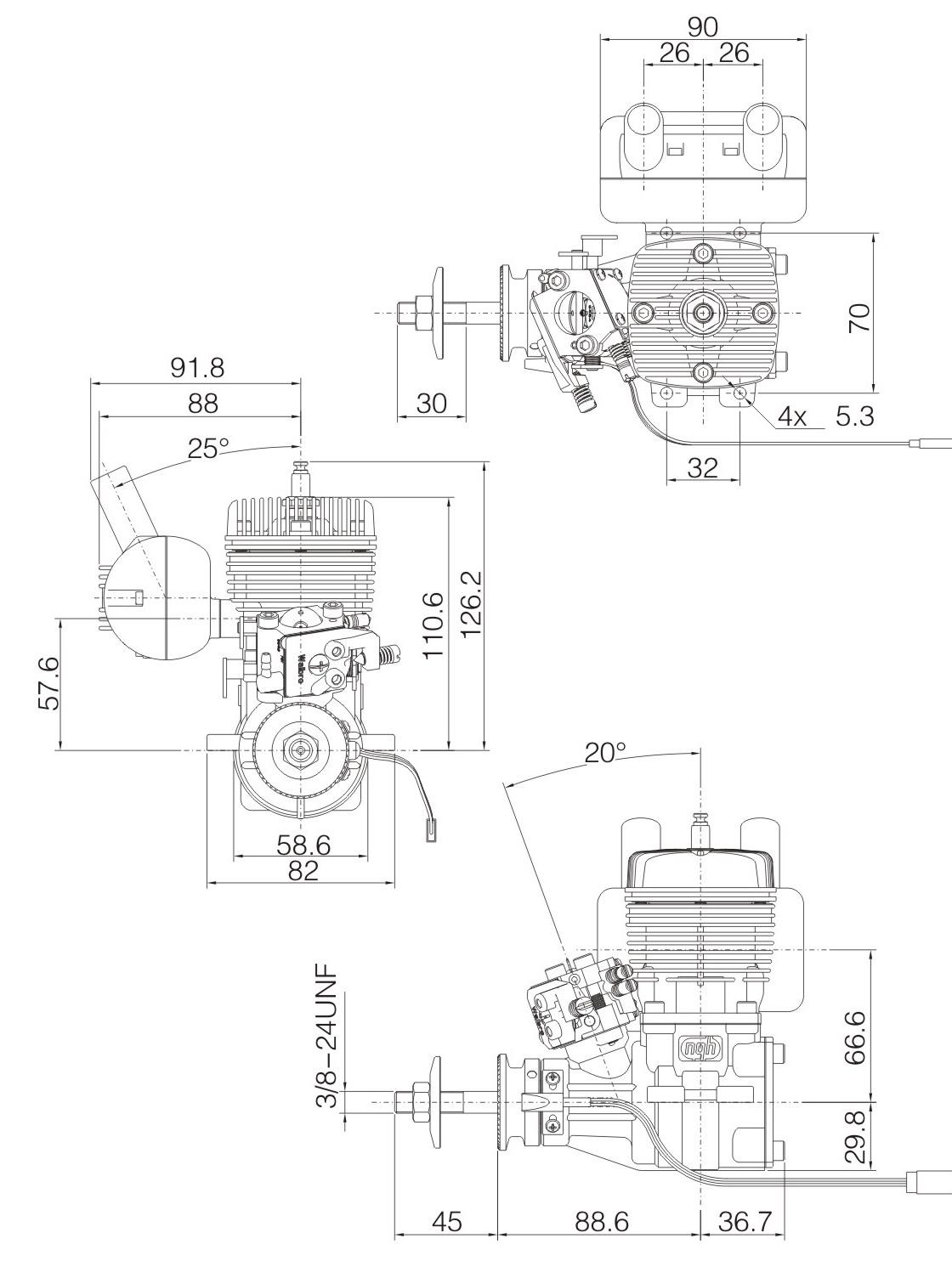Ngh Gt35s 35cc Petrol Engine For Radio Control Aeroplane