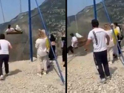वायरल वीडियो में झूले की सवारी करते हुए महिलाएं 6300 फीट की चट्टान से गिर गईं।  आगे क्या हुआ