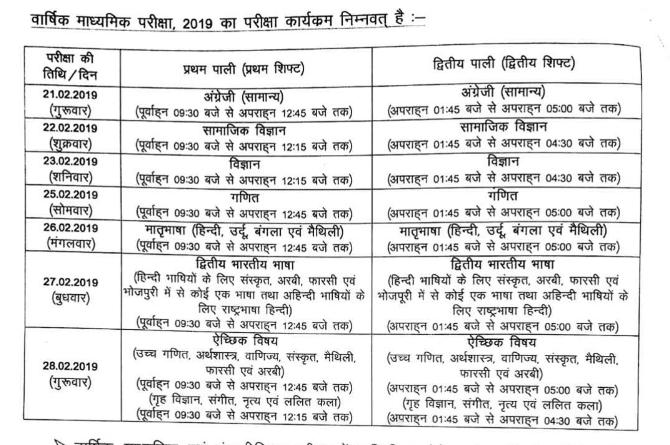 bihar board 10th exam date 2019