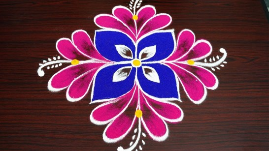 simple flower pongal rangoli with