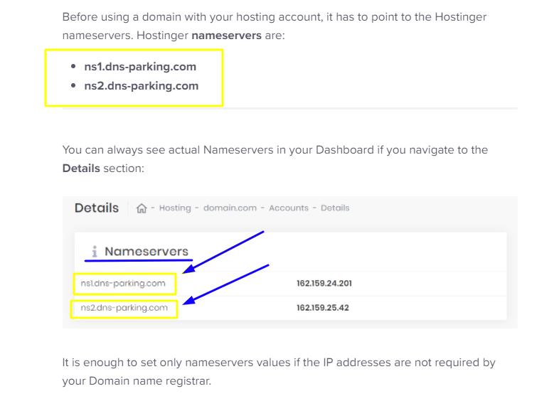 hostinger Nameservers