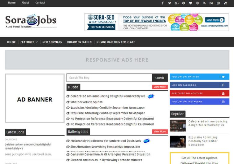 Sarkari Result Blogger Template