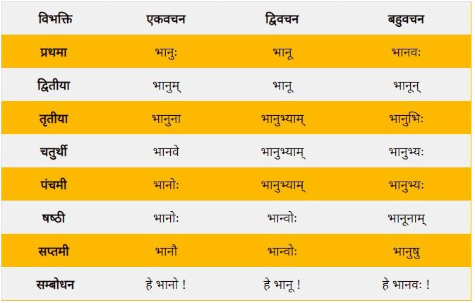 Bhanu Shabd Roop Sanskrit Mein