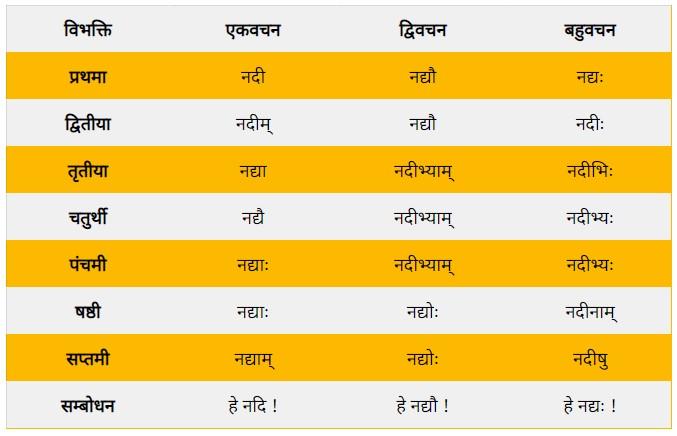 Nadi Shabd Roop in Sanskrit