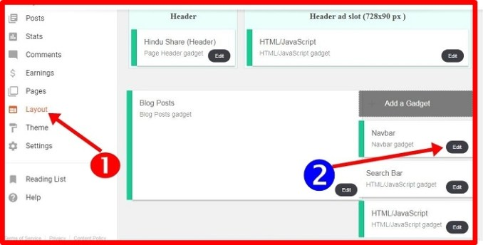 Blogger layout select kre