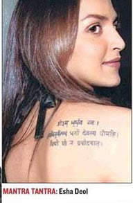 Esha Deol with tatoo